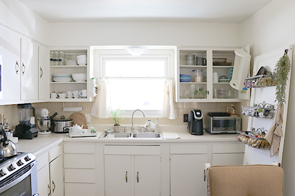 White Cabinets with No Doors